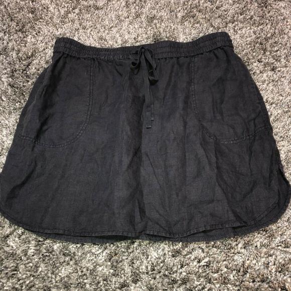 Caslon Dresses & Skirts - Caslon Women's L Gray Easy Linen Skirt Pockets Dra